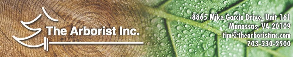 Header banner for The Arborist Inc including company information